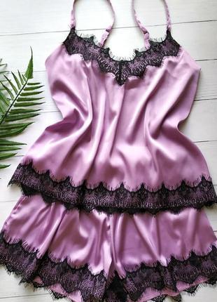 Элегантная пижамка розового цвета с мягким кружевом