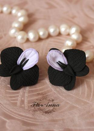 """Черные серьги с цветами """"черные орхидеи"""""""