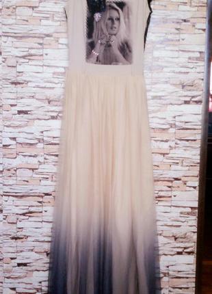Шикарное платье с кружевом и фатиновой юбкой амбре р-8