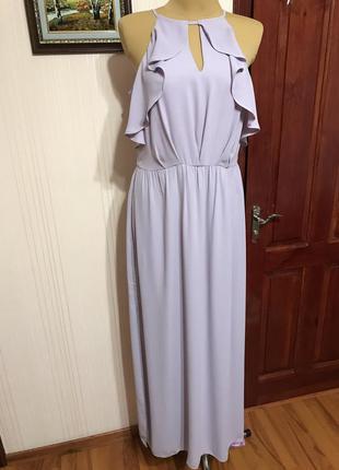 Нарядное длинное платье с разрезом