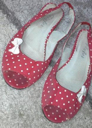 Летние туфли,босоножки  в горошек