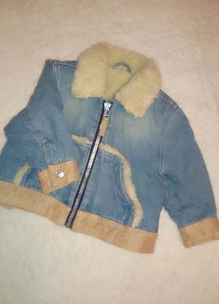 Куртка парка дубленка   джинсовая с мехом