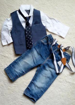 Костюм троечка +галстук от next на  1 годик (80см)