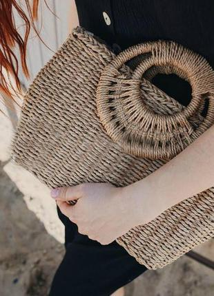 Сумка плетеная из соломы с длинным ремешком круглые ручки