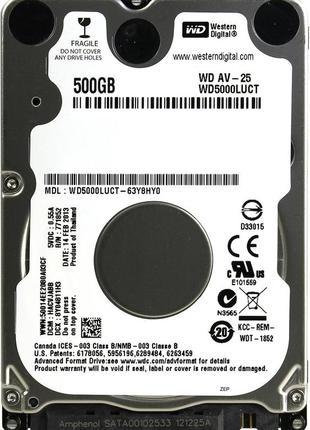 """Накопитель для ноутбука 2.5"""" SATA 500GB WD AV-25 16MB 5400rpm"""
