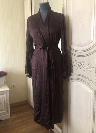 Роскошный длинный шёлковый халат с кружевом, натуральный шелк ...