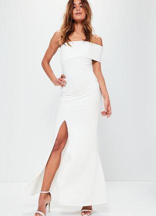Белое платье в пол макси на одно плече с разрезом missguided
