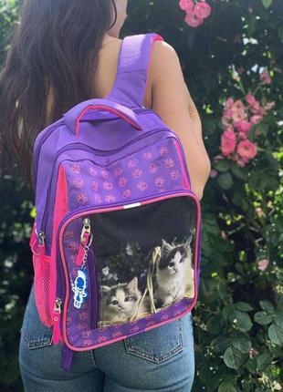Школьный рюкзак для учеников 1-4 классов с котами светоотражаю...