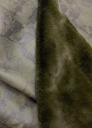 Дубленка искусственная ткань хаки зеленый