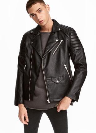 Черная кожаная косуха h&m biker jacket !