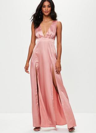Сатиновое платье в пол макси с разрезами missguided