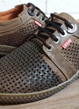 Летние кожаные мужские туфли levis 40-45 р-ры