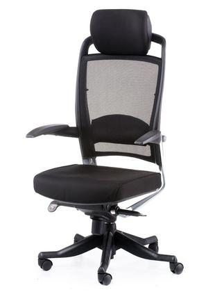 Кресло офисное руководителя FULKRUM, Black, Mesh & fabric