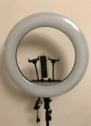 Кольцевая лампа 54см.80 ват.+пульт+штатив 2 метра.Диодов 480шт.