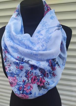 Легкий платок косынка турция голубой розовый