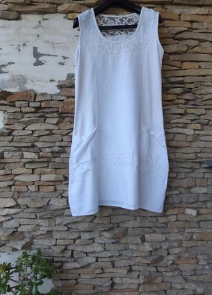 Стильное с кружевом и карманами платье большого размера