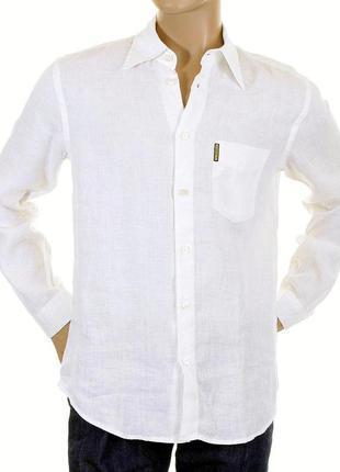 Рубашка мужская белая льняная с длинным рукавом armani jeans с...