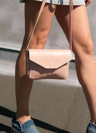 """Женская сумка """"lilu"""", гладкая кожа, белый цвет"""