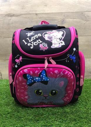 Школьный рюкзак для девочки ортопедический каркасный (котик)