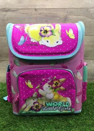Школьный рюкзак для девочки каркасный (зайчик)