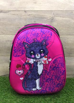 Рюкзак школьный для девочки ортопедический панцирь (котик)