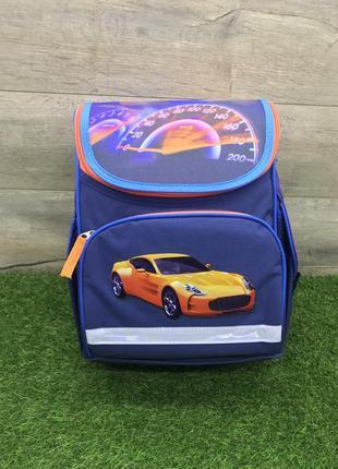 Синий школьный рюкзак для мальчика (желтый автомобиль)
