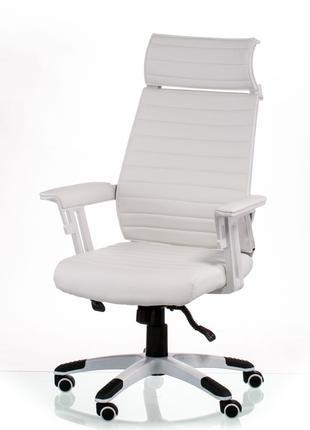 Кресло руководителя офисное Monika white/grey