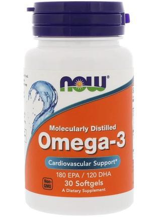 Омега 3, Now Foods Omega-3, 180 EPA/120 DHA, рыбий жир, 30 капсул