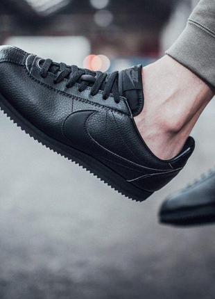 Мужские кроссовки Nike Cortez Classic Leather Черные Кожа