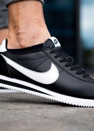 Мужские кроссовки Nike Cortez Classic Leather Черные с Белым