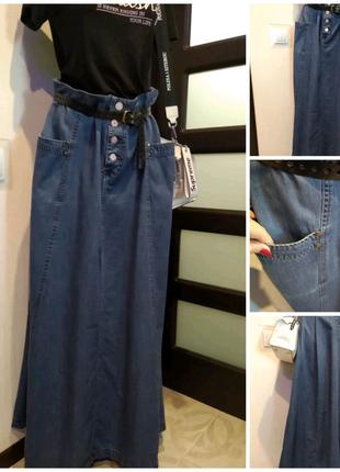 Стильная джинсовая юбка трапеция макси