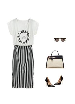 🔥🔥🔥летнее платье белый верх и юбка карандаш, l