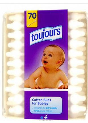 Ватные палочки детские 70 шт. toujours