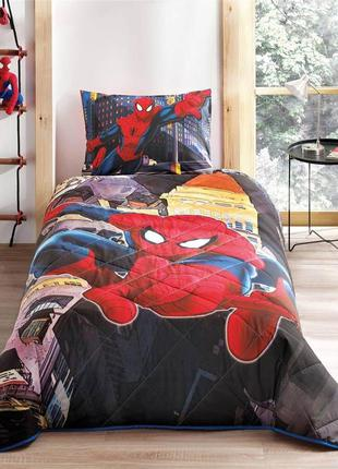 Стеганное покрывало tac disney spiderman in city 160×220см + н...