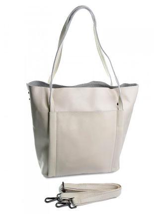 Шопер кожаный шкіряний женская кожаная сумка.