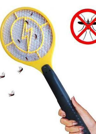 Электрическая мухобойка мухоловка, ракетка на батарейках. Защита!