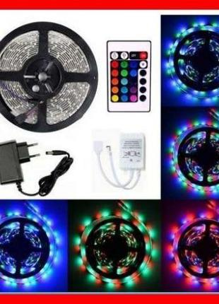 Светодиодная лента RGB 3528 ПОЛНЫЙ КОМПЛЕКТ 5м влагозащищенная