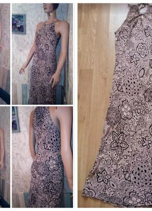 Вискоза, Летнее платье в пол, сарафан макси с ажурным принтом