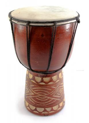 Барабан джембе резной дерево с кожей (24х14х14 см)