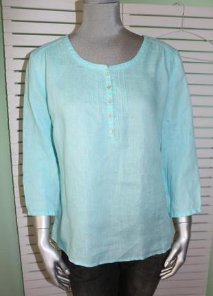 Льняная голубая блуза рубашка maddison
