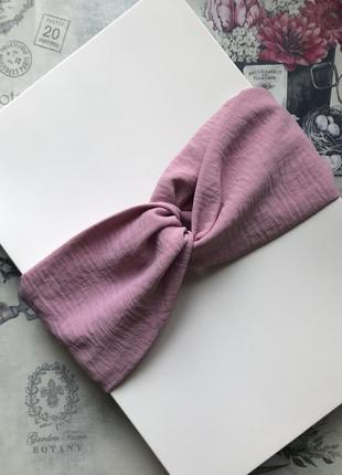 Широкая розовая повязка на голову/тюрбан