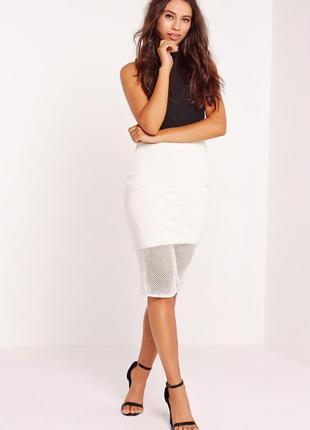 Премиальная бандажная юбка карандаш со вставкой сетки missguided