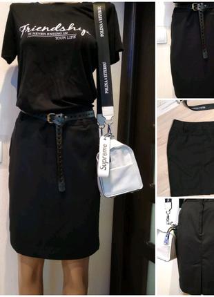 Базовая черная мини юбка карандаш
