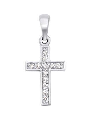 Золотой крестик с бриллиантами и цепочкой плетения снейк золот...