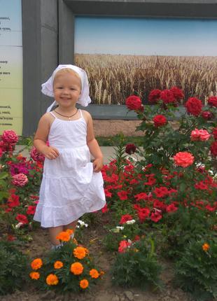 Батистовое платье на девочку 2-3 года # белое платье # косынка...