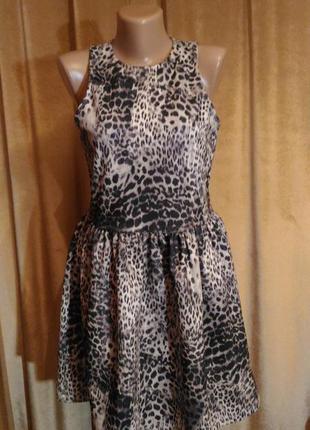 Пышное платье  с леопардовым принтом размеп m l