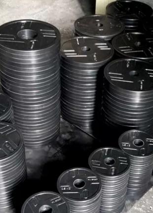 Диск стальной обрезиненный 0,5 кг -  20 кг 27 мм 51 мм