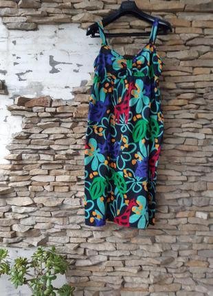 Яркий с карманами по бокам сарафан платье большого размера