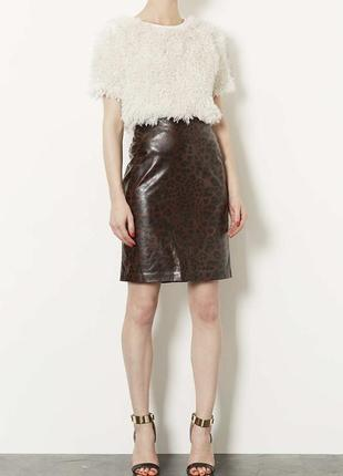 Кожаная юбка карандаш кожзам topshop