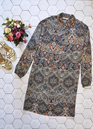 Платье-рубашка прямого кроя из вискозы с принтом пейсли